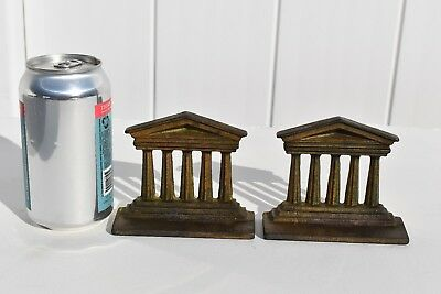 2 Antique Small Child Size Cast Iron Bookends Of A Greece Columns Style Building