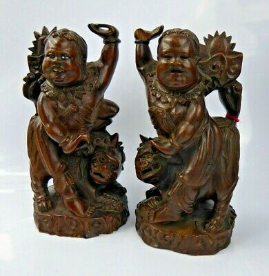 Chinese Antique Pair Carved Wood Figures on Qilin - Fine Quality Qing c1900