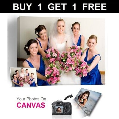 Buy 1 Get 1 Free Personalised Photo on Canvas Print Framed A0 A1 A2 A3 A4 A5--DA