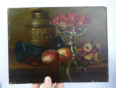 Jeanne Jacobs Belgium c19th Oil Still Life Super Quality Hidden Signature Panel