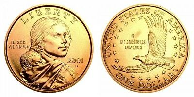2001 P&D Native American Indian One Dollar Sacagawea US Mint Coin Money Coins