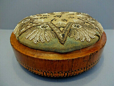 ANTIQUE MID VICTORIAN CIRCULAR FOOT STOOL WITH TAPESTRY PADDED TOP, c 1870-90.