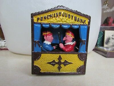 Reproduction Cast Iron Mechanical Bank:  Punch and Judy