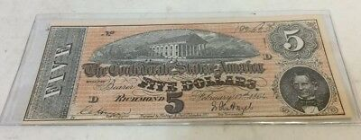 17,1864 Confederate States Of America $5 Richmond Note Facsimile//Reprint Feb