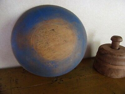Early antique wood bowl soldier blue dry paint AAFA