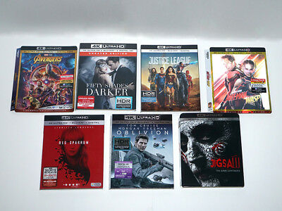 4K Ultra HD Blu-Ray Slip Cover LOT Justice League Avengers Ant-Man Wasp Jigsaw