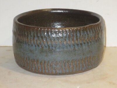 Warren Mackenzie Lg Pottery Bowl With Tractor Tire Decoration, Double Stamp Mark