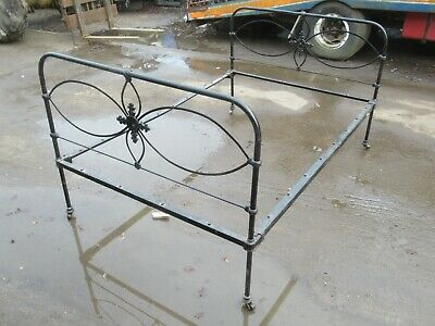 Antique Vintage Cast / Iron Double Bed Frame, Ornate, On Wheels, Dusty Barn Find