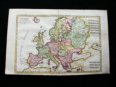 "1770 BONNE ""amazing map"" of EUROPE, EUROPA, EUROPEAN EMPIRE, MEDITERRANEAN SEA"