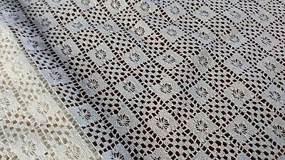 Genuine British White Cluny Cotton Lace Fabric Textile Dresses Curtain Sew Vogue