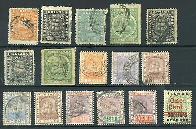 British Guiana Nice selection of 16 Early Used Stamps, LOOK!