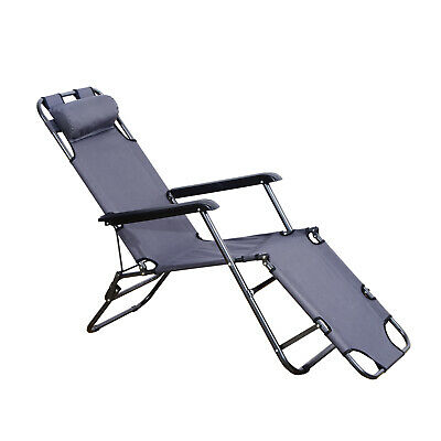 Folding Chaise Lounge Chair Portable Adjustable Recliner Grey