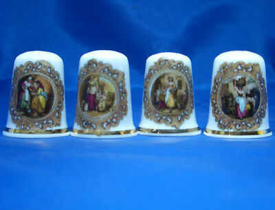Fine Porcelain China Thimbles - Set Of Four Cameo Street Traders