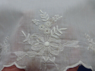 Antique finely embroidered white-work slip/dress, for antique doll /small child