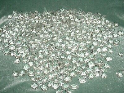 Old Lot 320Pcs Large Crystal Cut Drops Octagonal Buttons Chandelier Spare Parts