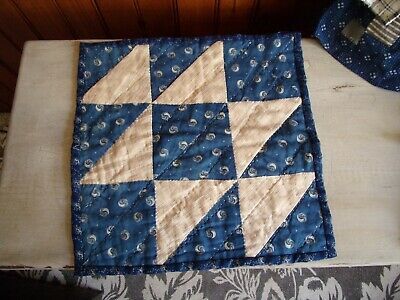 Antique doll mat..Early antique blue calico!!!!! AAFA