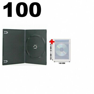 100 SLIM Black Single DVD Cases 7MM & 100 OPP Plastic Wrap Bag