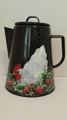 VINTAGE ENAMEL COFFEE POT HEN STRAWBERRIES  HAND PAINTED FOLK ART BY T. Mc MURRY