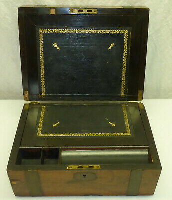Antique Wood Portable Writing Travel Lap Desk Box w/ Brass Inlay for Restoration