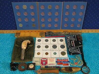 Junk Lot with US Coins / Silver Quarters, Rod Knife Sharpener, Shoe Ashtray