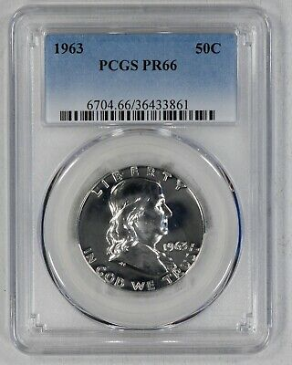 1963 Franklin Half Dollar 50C Pcgs Certified Pr 66 Proof (861)