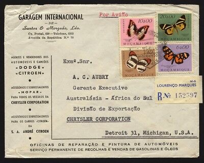 MOZAMBIQUE 1956 Reg. Cover L. Marques to CHRYSLER Corp. USA, Butterflies