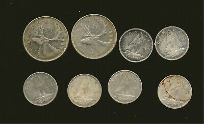 Canada 1968 .500 Silver Circulated Coin Lot 2x25Cents & 6x10Cents