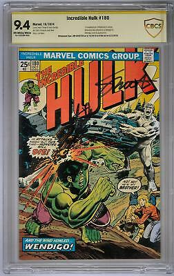 Incredible Hulk #180 CBCS 9.4 Signature Series Stan Lee Jim Shooter (OW-W) 1st W
