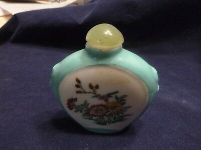 Oriental Snuff Bottle Turquoise Rim White Center Both Sides With Birds & Flowers