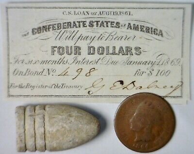 1861 CONFEDERATE $4 CSA Intrest Note+Civil War BULLET + 1864 Indian Cent Coin NR