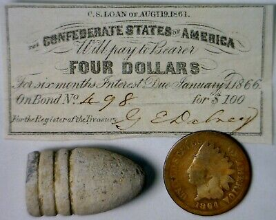 Civil War BULLET+ 1861 CONFEDERATE $4 CSA Interest Note 1864 Indian Cent Coin NR