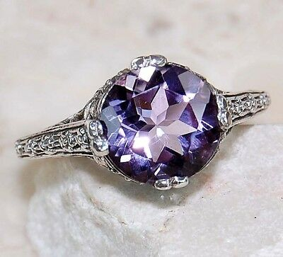 2CT Amethyst 925 Solid Sterling Silver Art Deco Filigree Ring Jewelry Sz 9