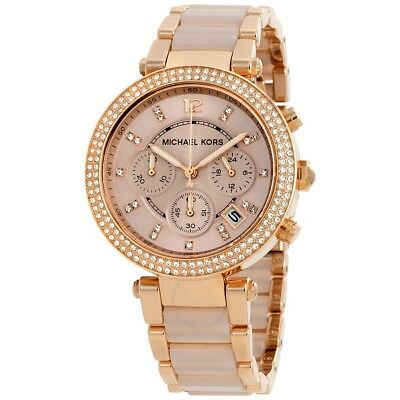 Michael Kors Parker Chronograph Date Rose Blush Dial Women's Watch Mk5896 New