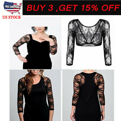 Plus Size Seamless Arm Shaper Tops Women Lace V-neck Sheer Cardigan Crop Top LM