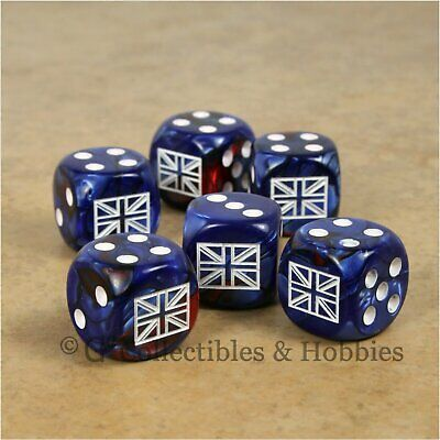 NEW Pair of British Union Jack Dice RPG War Game D6 Set WWII England UK Flag