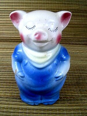 Collectible Pottery Ceramic Piggy Bank Pig Overalls 5.5 inches American 1950s