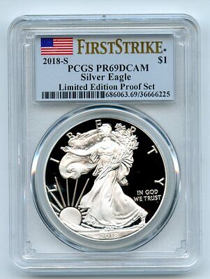 2018 S $1 Proof Silver Eagle 1 oz PCGS PR69DCAM First Strike Limited Edition