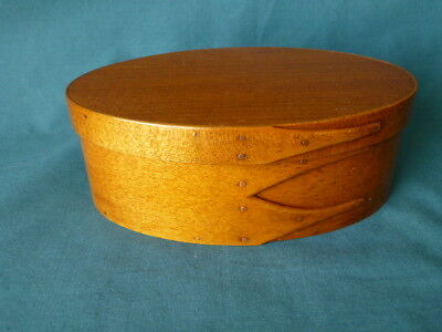 Vintage C W S Shaker Reproduction Fingered Oval Box Maple & Pine  & Copper Nails