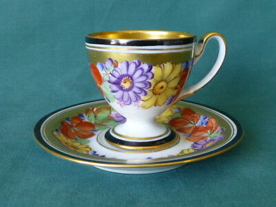 Antique Hand Painted Floral Dresden Cup & Saucer & Gold Trim Early Staple Repair