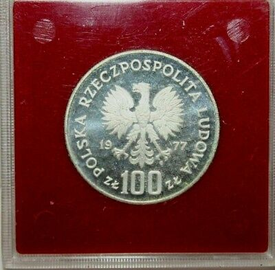 1977 Poland Proba 100 Zlotych Proof Silver Coin Y#91