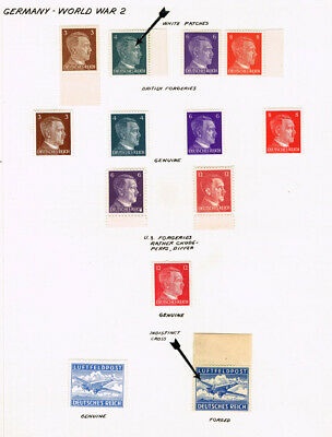 Germany Ww2 Mint Collection Of British And U.s. Forgeries Of Hitler Stamps