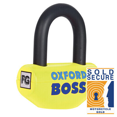 Oxford Big Boss Disc lock -14 mm shackle Motorcycle Yellow Thatcham Sold Secure