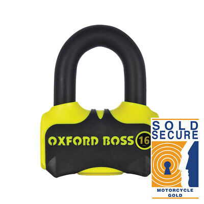 Oxford Boss 16 Super Strong Disc Lock MOTORCYCLE Sold Secure Approved Gold LK316