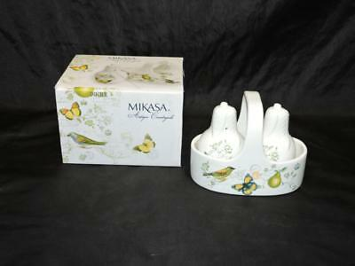 Mikasa Antique Countryside Pear Bird Butterfly Salt & Pepper Shakers Caddy NEW