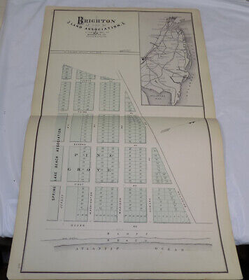 1878 Antique NEW JERSEY Town Map/BRIGHTON, WALL TOWNSHIP, MONMOUTH COUNTY