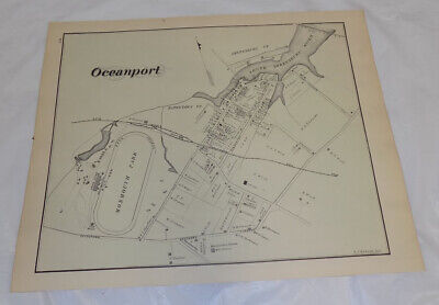 1878 Antique NEW JERSEY Town Map///OCEANPORT, MONMOUTH COUNTY