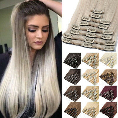 Indian Sale Clip in Remy Human Hair 100% Real Hair Extensions 8PCS Bleach White
