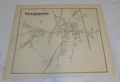 1878 Antique NEW JERSEY Town Map///TUCKERTON, OCEAN COUNTY, NEW JERSEY