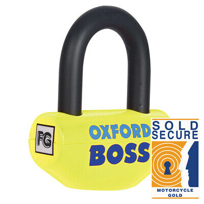 Oxford Boss - Flo. Yellow Sold Secure Gold Motorcycle Motorbike Secure Lock