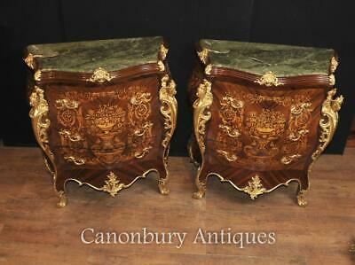 Pair Louis XVI Bombe Commodes Chests of Drawers Marquetry Inlay